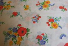 Strawberries and Wildflower Bouquets on White Polka Dots, VINTAGE SHEET, Fat Quarter