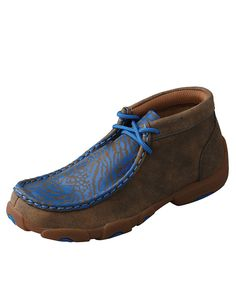 Twisted X Youth Electric Blue Trimmed Brown Bomber Driving Mocs Western Shoes, Western Outfits, Casual Loafers, Casual Shoes, Twisted X Boots, Indian Shoes, All About Shoes, Driving Shoes, Kids Boots