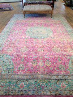 Gorgeous turquoise & raspberry rug - ABC Home