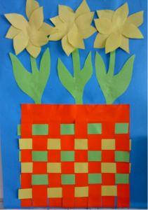 Lentebloemen groep 1 doel: vlechten papier