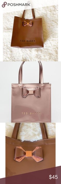 ae5ef6ceacf320 Ted baker London crystal bow large Icon Tote Bag 100% Authentic Metallic  Taupe ted baker
