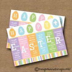 "Instant Download - Easter Card DIY PRINTABLE ""Happy Easter"" Christian Scripture Easter Bible Verse Card Instant Download"