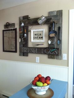 Farm house kitchen decor...repurposed barn wood... Milk and cream by Knick of Time Interiors... DIY project
