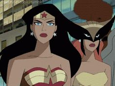 Hawkgirl : But who wants to live in a world without men? Wonder Woman : They can't possibly be that essential to your life. Hawkgirl: Don'. Bruce Timm, Comic Book Characters, Comic Character, Comic Books, Jordi Bernet, Female Villains, Justice League Unlimited, Hawkgirl, My Superhero