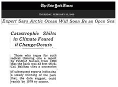 NY Times: Arctic to be ice-free by 1970, producing catastrophic climate change