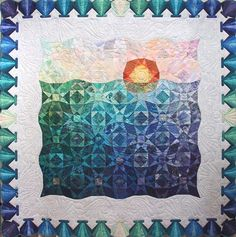 2001 Raffle Quilt, Storm at Sea, Mary's River Quilt Guild (Oregon).  One of our favorite storm-at-sea quilts.