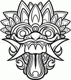 Dragon Masks to Color | Chinese Dragon Mask Drawing How to draw a balinese mask,