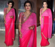 Pink Designer Sarees, Pink Embellished Sarees, Plain Pink Saree with Embellished Border, Celebrities in Plain Pink Sarees, Raveena Tandon in Saree.