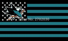 #SAN #JOSE #SHARKS #HOCKEY #SPORTS #TEAM #STAR #& #STRIPE #US #NATIONAL #FLAG #3FT #X #5FT #CUSTOM #BANNER #WITH #SLEEVE #TWO #GROMETS #90*150CM