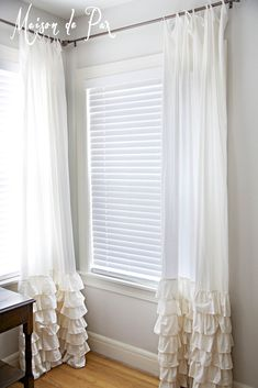 Maison de Pax: Ruffled white curtains for cottage chic bedroom decorating. #home