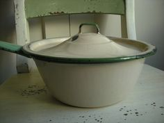 Vintage Enamel Ware Cream and Green Pot with Lid - ca 1930s