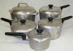 Sidney,Ohio Wagner Ware Magnalite Aluminum Roaster-Skillet-(3) Pots w/Lids dd79