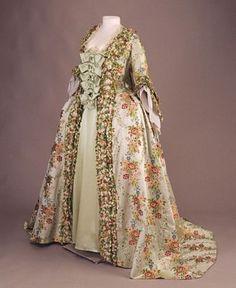 Woman's sack-back gown (robe à la française), ca. 1765  France