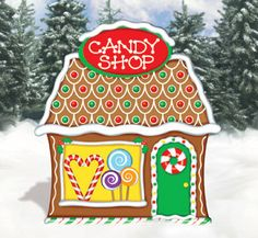Christmas Gingerbread Candy Shop Wood Outdoor Yard Art, Lawn Decoration…
