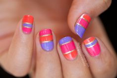"""Gorgeous summer nail art! """"Summerlines"""" with picture polish Wisteria, Hot Lips and Sunset. — by My Awesome Beauty"""