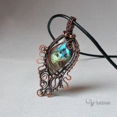 Wire wrapped pendant with blue Labradorite stone, Wired pendant, Copper jewelry, Wire wrap jewelry by Artual on Etsy https://www.etsy.com/listing/246774478/wire-wrapped-pendant-with-blue