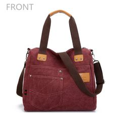 Nice & Roomy Large High Quality Contrast Color w/Multi Pocket Canvas Shoulder Bags