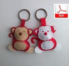 Keychain Pattern, Monkey Sewing Pattern, PDF Felt Monkey Pattern, Monkey Softie, Stuffed Animal