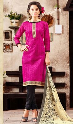 Emblazon your beauty decked in this pink color printed chanderi churidar suit. You can see some fascinating patterns done with block print and lace work. #fushiacolordresses #standcolleredsuit #indiandress
