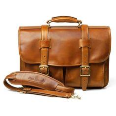 01c4346d91 Allen Edmonds Strand Collection - Walnut Leather Double Flap Briefcase Allen  Edmonds Strand