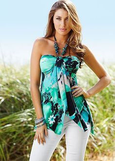 This tropical print, beaded halter would be a great idea for our Lusty Luau Party.