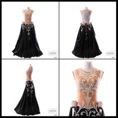 Chrisanne black nude crystal bodice design modern dress