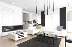 Black and white interior with wood accents in Poland: House - Decoration Ideas Black And White Interior, White Interior Design, Contemporary Interior Design, Luxury Interior, Modern Interior, Modern Decor, Minimalist House Design, Minimalist Interior, Minimalist Home