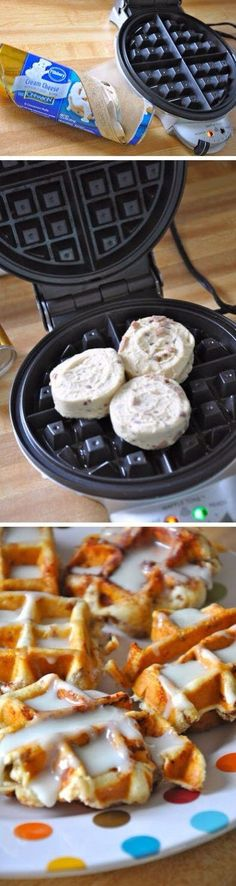 cinnamon roll waffles; but the clean up of the waffle maker was a bit of a pain