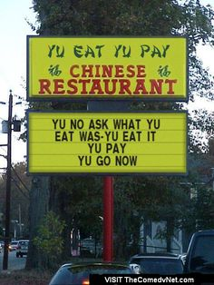 funny signs | Funny Signs # Truth? in advertising about Chinese food!