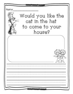 Dr. Seuss- Cat in the Hat activity from Kindergarten Busy Bees on TeachersNotebook.com (1 page)