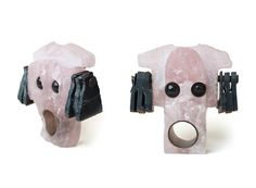 // Elvira Golombosi - rose quartz, obsidian, falcon's eye ring