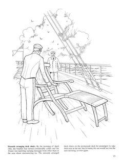 Stewards arranging deck chairs