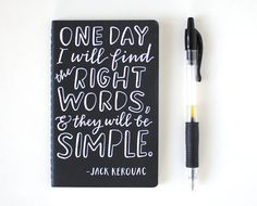Jack Kerouac Quote, White on Black