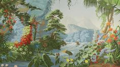 Hand painted scenic murals from Yrmural Studio,Good price with same high quality as deGournay and Zuber at http://www.yrmural.com