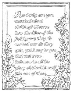 coloring pages for kids by mr adron printable coloring page matthew 628 29 the lilies