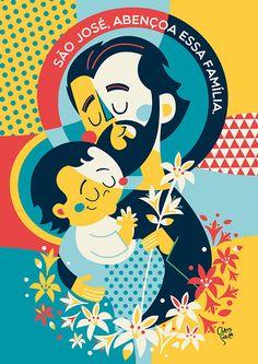 Joseph and Child Catholic Art, Catholic Saints, Religious Art, Holy Art, Bible Stories For Kids, Mexican Folk Art, St Joseph, Sacred Art, Christian Art
