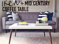 DIY IKEA Hack Mid-Century Modern Coffee Table on This Blonde Bee