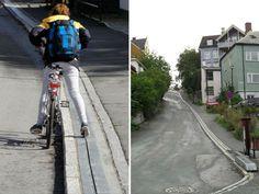 Norvegia, ecco la prima scala mobile per ciclisti, la salita non sarà più un problema - Radio Deejay e Deejay Tv