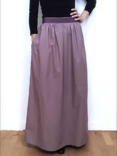 Long wisteria colour skirt, grosgrain waist. di Fedracollection su Etsy