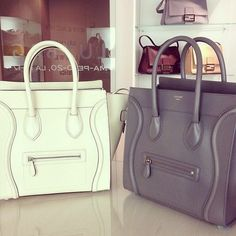 white and gray Celine bags