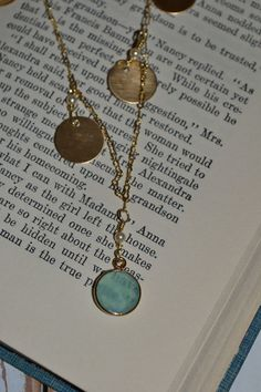Sea Blue with Brass Disk Necklace by aelizabeth on Etsy