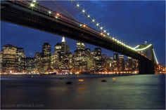 Night in Manhattan (by @adosc) #NYC #NewYork #river #skyline #architecture #bridge #Brooklyn