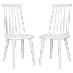all white, big rings under seat/legs - A perennial favorite, the classic Windsor dining chair gets a bit of transitional flair with the tapered back silhouette and white finish of this sleek design.