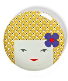 Look what I found on #zulily! Blonde Girl Plate #zulilyfinds