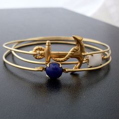 Bangle Bracelet Set Sailor Ahoy  Gold Blue White by FrostedWillow, $37.00. Clearly every girl from Rhode Island needs this.