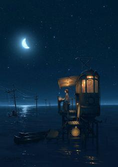 Scenery Night in Sea