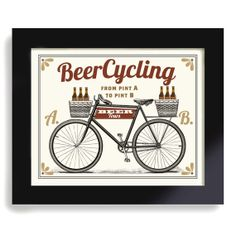 Bicycle Art, Beer Sign, Cycling Art, Beercycling, Bar Art, Pub Decor, Beer Gift on Etsy, $18.00