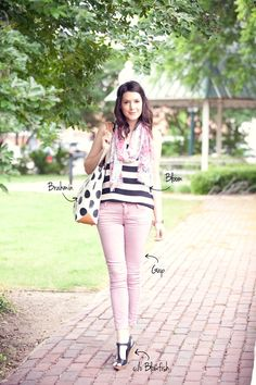 Mixing Polka Dots and Stripes, black and white fashion trend