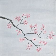 Cherry Blossom Painting Pink Cherry Blossoms by ABFoleyArtworks