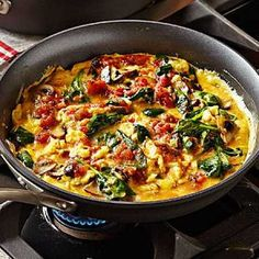 American Scramble with Mushrooms and Spinach Recipe